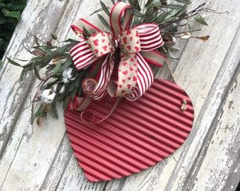Valentine Cotton Wreath,Rustic Heart Door Swag, Valentine Door Hanger,Valentine Wreath,Heart Wreath, Door Heart, Valentine Rustic Wreath