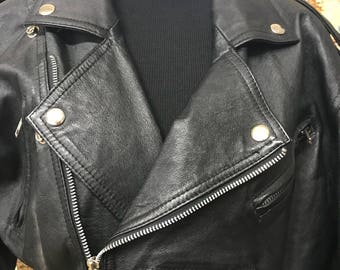 Wilson's Black Leather Moto Style Jacket