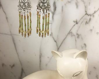 Spring Green Tube, Crystal & Seed Bead Earrings .:. Think Spring!