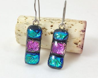 Teal Fused Glass Earrings, Teal Glass Earrings, Teal Dichroic Glass Earrings, Dichroic Glass Jewelry, Hypoallergenic Titanium Ear Wires