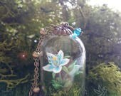 Silent Princess flower inspired necklace terrarium