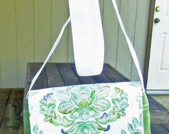 Small Messenger Bag - made by me with green fabric and flap with green print - crossover purse