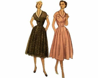 1950s Simplicity 3619, Dress, Size 14 1/2, 33 Bust, Dress w/ Detachable Collar and Cuffs, Rolled Collar, Kimono Sleeves, Vintage Pattern