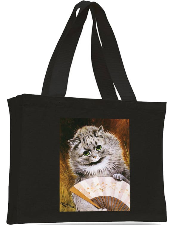 Louis Wain Cat with Fan Cotton Shopping Bag with gusset and long handles,