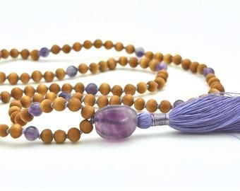 Sandalwood Mala with Amethyst & Fluorite, knotted, 108 bead mala, hand-made