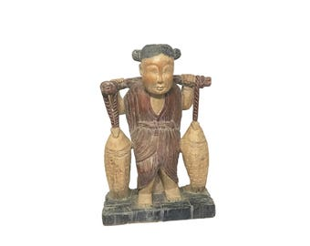 Large Chinese Wood Carving of Girl Carrying Two Fish