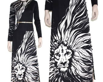 70s Paganne lion graphic dress, Vintage 1970s op art cat maxi, Gene Berk black white supermodel skirt, Vtg 60s novelty, xs s small medium m