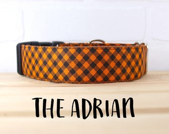 Orange Plaid Dog Collar in Blue for Halloween for Boy/Girl Dog. Can be made in a Buckle or Martingale Collar. PLEASE READ Item Details