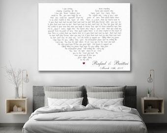 Wedding song lyrics, Custom song lyrics, First dance song, Frame cotton canvas, Heart shaped lyrics, Made to order, Song lyrics canvas art