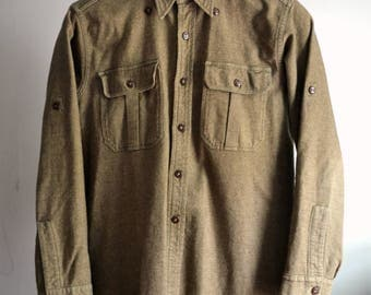 Vintage Military Olive Drab Shirt Overshirt Faux Button Down Approximately Size M Medium