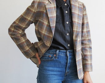 Vintage Plaid Blazer // Small 1970's Plaid Print Wool Blazer // Women's Vintage Clothing