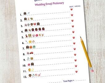 Bridal Shower Emoji Pictionary / Wedding Emoji Pictionary / Bridal Shower Game / Wedding Shower Game / African American / Printable 5x7
