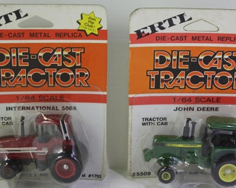 Vintage pair of  NOS Ertl 1/64 scale model Die Cast Tractor series - International 5088 tractor with cab , John Deere tractor with cab
