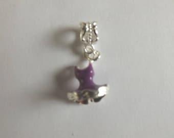 silver dress pendant purple 18 x 12 mm