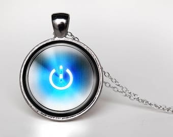 Power Button Pendant Necklace - Power Symbol - Blue - Power Button Jewelry - Gamer Jewelry - Gamer Necklace - Geeky Jewelry