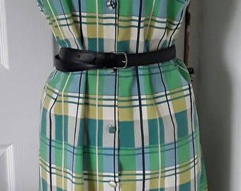 """50s 60s Shift Dress / 50s Dress / 60s Dress / Cotton Printed Dress/ Green Blue Dress / Button Through Dress/ Sleeveless Dress/ Chest 40"""""""