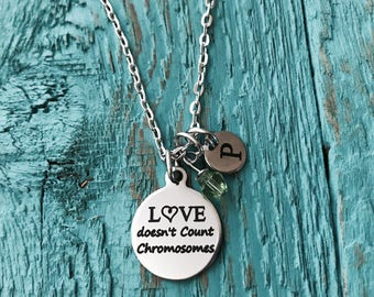 Love doesn't count, chromosomes, Down Syndrome, Down Syndrome Awareness, Extra chromosome, Silver Jewelry, Silver Necklace, Charm Necklace