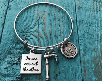 Otoscope jewelry, Otoscope Bracelet, auriscope, medical device, medical Bracelet, audiology jewelry, gift for audiologist, Silver Bracelet