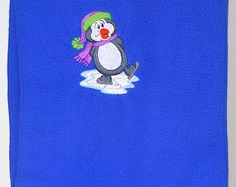 Penguin Scarf - Blue Winter Fleece Scarf