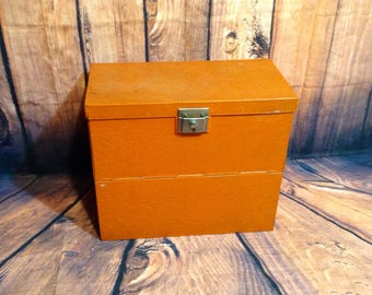 Vintage Orange Metal Yawman and Erbe Record Chest - Rustic, Industrial Hinged Metal Box - Original Sticker on Inside - Office, File Storage