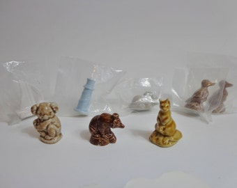 Collectible Wade Red Rose Tea Porcelain Whimsies Animal & Seaside Figurines, Ceramic Mini Collection LOT of 8 Variety Destash Nostalgia