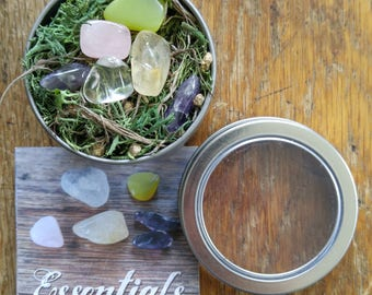 Crystal Set for beginners. Crystal Kit for healers. Essential Crystals. Tumbled. Help for Stress. Stone set. Untreated citrine. grid set