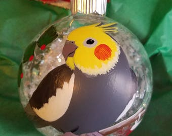 Cockatiel Christmas ornament, hand painted