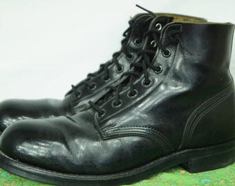 Vintage 90s Grunge Boots Biltrite Sole - Size 8 D US - 7-hole Steel Toe Military Army Boots - - Police Boots - Combat Boot - D327