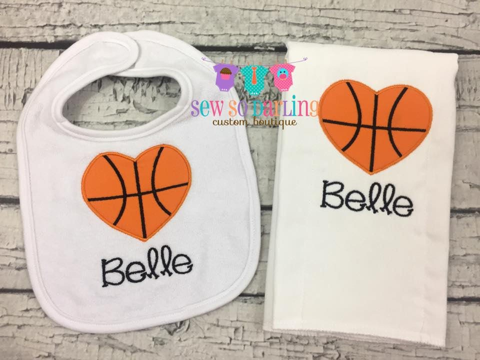 Basketball bib burp cloth set basketball baby girl gift request a custom order and have something made just for you negle Choice Image