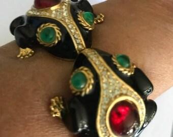 CIner enamel Frogs  signed clamper bracelet RARE!