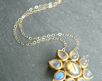 Labradorite Flower Gold Necklace