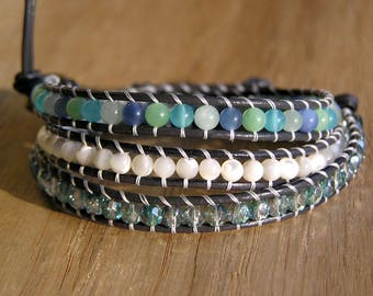 Leather Triple Wrap Bracelet  Blue Quartz, Mother of pearl, Fire-polished Beads