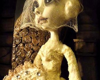 Gothic Art Doll - Haunted Doll, Creepy Cute, Day of the Dead, OOAK Art Doll, Dia de los Metros, Sugar Skull, Gothic, Goth, Bride Doll, Art