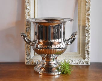 Silver Plate Champagne Bucket, Silver Ice Bucket Wine Cooler, New Year's Silver Barware, Roping Rope Design Silver Trophy Cup Silver Planter