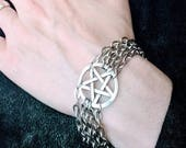 Witchy Pentagram Silver Chain Bracelet - Handmade - Jewelry - Goth - Occult - Pentacle - Wiccan - Unique - Gift - Gothic - Witch - Star