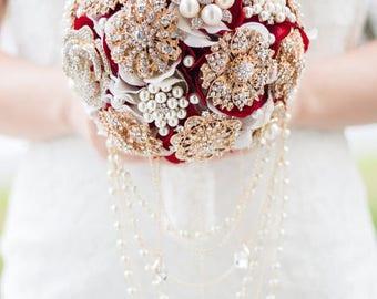 Custom Red Gold Brooch Bouquet, Majestic Bridal Bouquet, Silk Flower Wedding Bouquet, Cascading Bouquet, Teardrop, Keepsake, Memorial
