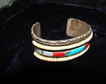 1-S Native American Turquoise, Coral, and Mother  of Pearl Bracelet