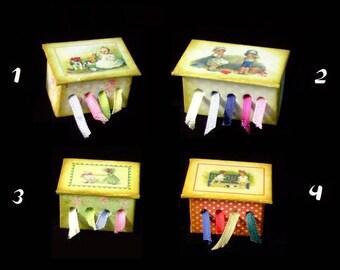 Miniature Ribbon Box OOAK - Kids Themes  - 1/12 scale
