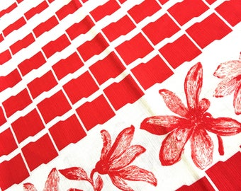 70's vintage red white FLOWER print cotton fabric 2m