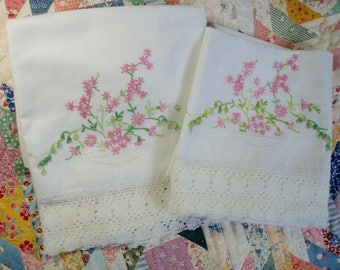 Vintage Lace Edged Embroidered Pillow Case Lace Pillow Slip