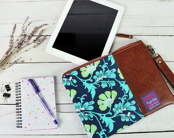 Tablet Case 9.7 Ipad Sleeve 10.5 Ipad Pro 10.1 Samsung Tab S2 S3 Ipad Accessories Computer Storage Brown Recycled Leather Blue Green Flower