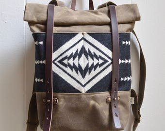 Waxed Canvas Backpack with Walking Rock Pendleton® Fabric / Canvas Backpack