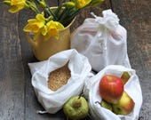Produce bags reusable 100% cotton eco gift set of three