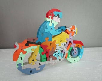 Motorcycle handcrafted Alphabet puzzle