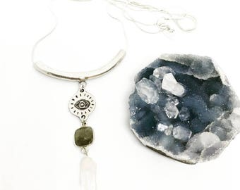 Seer Necklace with Eye of Protection, Labradorite, and Quartz / Silver or Brass