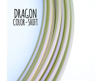 Dragon Color-Shift 5/8 Polypro Hoops ~ Color Morph Polypro Hoops, Green Gold Iridescent 5/8 Polypro, FestivalTreasures, Fast Shipping