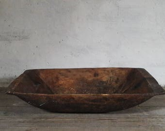 Primitive Dough Bowl, Wood Dough Trencher, French Dough Bowl, Wooden Dough Trough, Wabi Sabi Bowl, Dough Bowl Trencher, Hand Carved Bowl