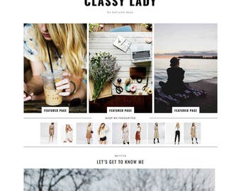 "Wordpress Theme ""Classy Lady"" // Responsive Full Width Magazine Style Premade Wordpress Blog Design"