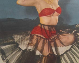 1950's Sexy Pinup Red Bra & Panties Beauty Calendar Art Print - Free Shipping
