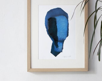 Blue Abstract Wall Art Print, Navy Chic Home Decor, Modern Interior Classic Artwork